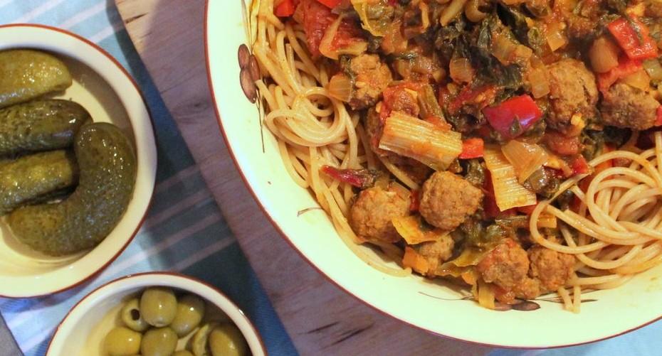 Spaghetti met snijbiet en gehaktballetjes (4)